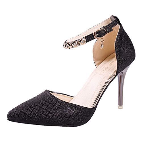 Dasongff Pointed Toe Stiletto High Heel Damenschuhe 10cm Pumps Sandalen Glitzer Perlen Knöchel Schnalle Elegant Abendschuhe Black Pointed Toe