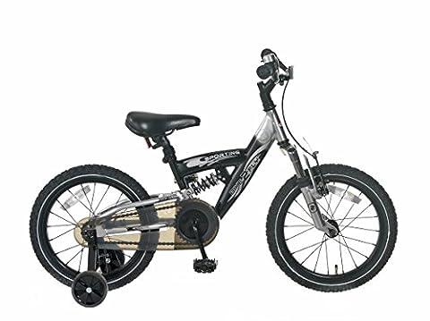 Vélo Enfant Garçon Popal Sporting Cross 16 Pouces Frein Arrière à Rétropédalage Stabilisateurs Noir Argent 95% Assemblé