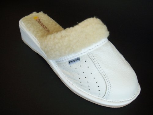 Bosaco, Lederhausschuhe mit echter Wolle gefüttert Weiß