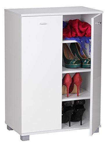 Wohnling Schuhschrank TAJA 2-Türig 60 x 90 x 35 cm Front 12 Paar Schuhe weiß