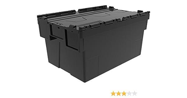 10 x 50 L Pile nid Large Plastique Noir Boîtes De Rangement Conteneurs caisses