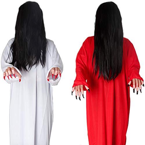 JH&MM Halloween Kostüm Frau Weiß Rot Horror Beängstigend Cosplay Weiblicher Geist Gespenstisch Kostüm Spiel Maskerade Kleid,Red (Weibliche Sheriff Kostüm)