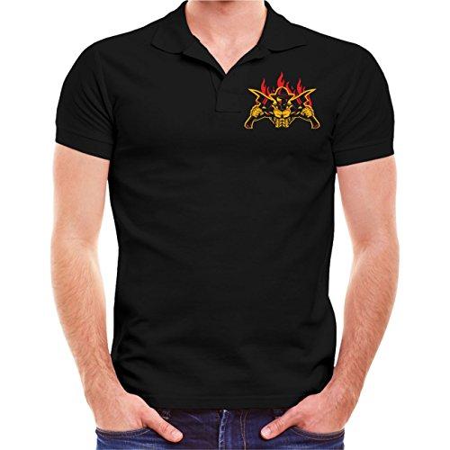 Männer und Herren POLO Shirt Feuerwehrleute sterben nie (mit Rückendruck) Schwarz