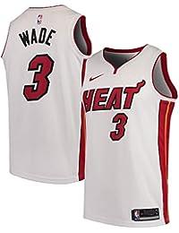 LACITY Mens Heat Wade Jersey 3 Swingman Bordado con Cuello Redondo Camisa
