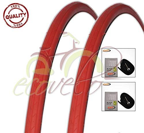 Kit 2 Due COPERTONI + 2 Due CAMERE d'Aria Bici Ciclo Scatto Fisso Rosso 700 X 23 28 X 5/8 X 1/16 (23-622)