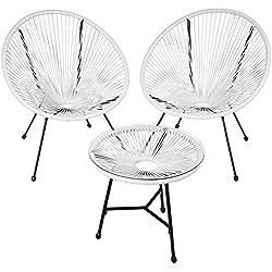 tectake 800730 2 Fauteuils Acapulco de Jardin de Salon Design rétro, avec 1 Table, pour Un Usage en intérieur et extérieur - Plusieurs Couleurs - (Blanc | no. 403308)