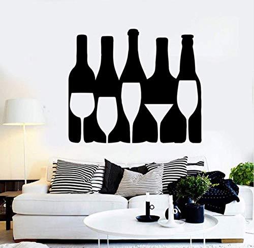 YANGSHUANG Wandaufkleber Vinyl Wand Applique Mann Wein Alkohol Flasche Bar Entertainment Ort Wasser Bar Bereich Wanddekoration Aufkleber 66x57cm