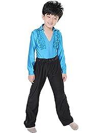 c20e941a6 BOZEVON Niños Clásico Cuello V Latín Baile Camisa Actuación Ropa Escénica  Disfraces Moda Bailando Jazz Trajes