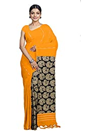 a6d69bfdc6 Tant Ghar Women's Cotton khesh printed Gurjarii Saree with printed  blouse(yellow)49G