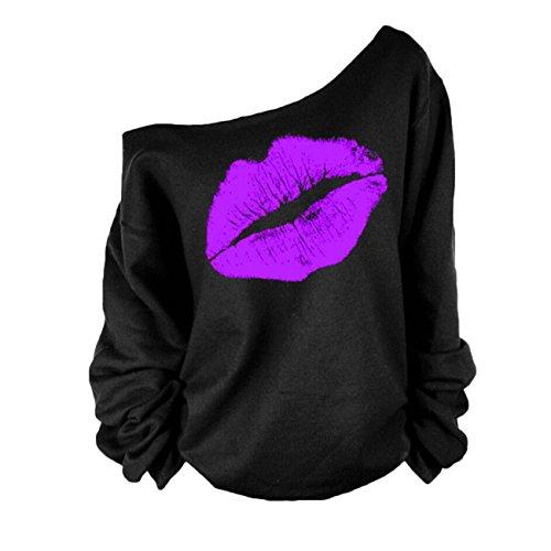 Bluse Pullover Damen Casual Lose Lippen Druck Schulterfrei Sweatshirt Lange Ärmel Oberteile Tops Tunika (XL, Lila) - Lila Tunika Pullover