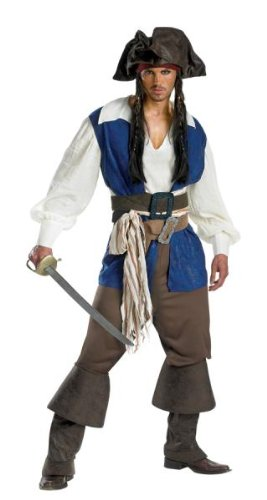 Pirates of the Caribbean Captain Jack Sparrow Deluxe Adult Halloween Costume, 42-46 (Pirate Halloween-make-up)