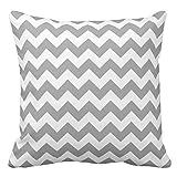 rongxincailiaoke Kissenbezüge Dark Gray White Chevron Zig-Zag Pattern Pillow Cover Throw Pillowcase 18 x 18 Inches Square Standard Throw Pillow Cover Cushion Gift for Her