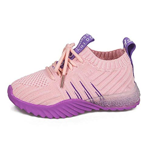 Lixibei Laufschuhe Kind Mesh Breathable Sneaker Outdoor Athletic Casual Sports Trainer Leichte Turnschuhe Unisex Kids,Lila,28 -