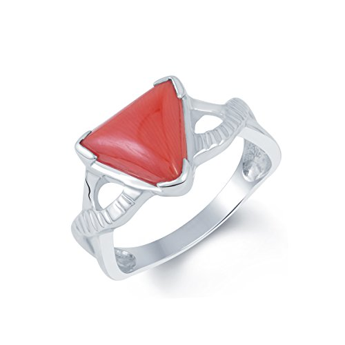 G-Luck Certified Natural Coral Munga 92.5 Sterling Silver Gemstone Ring For Men