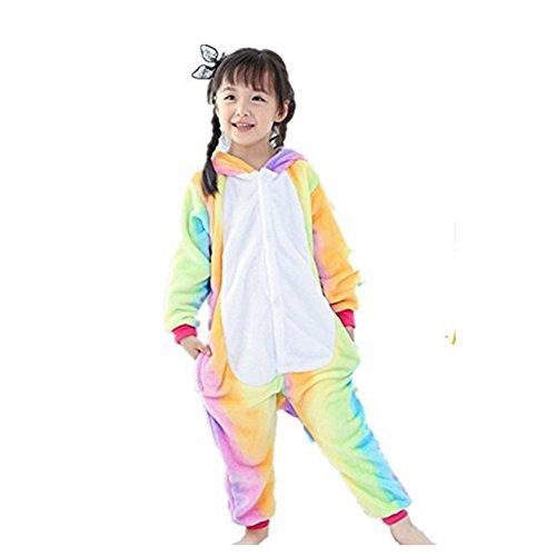 Strampelanzug Einhorn Kostüm - Rainbow Fox Kinder Regenbogen Einhorn Pyjama Pegasus Overalls Kinder Tier Kostüme Karikatur Cosplay Kleider zum Jungen und Mädchen niedriger als 130cm im Höhe(#130 (Höhe 120-130cm), Regenbogen)
