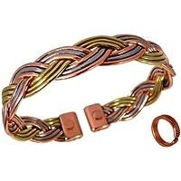 The Online Bazaar Magnetisch Drei Farbe Falte Armband in Kupfer, Messing und Aluminium mit Geätzten linien magnetisch... preisvergleich bei billige-tabletten.eu