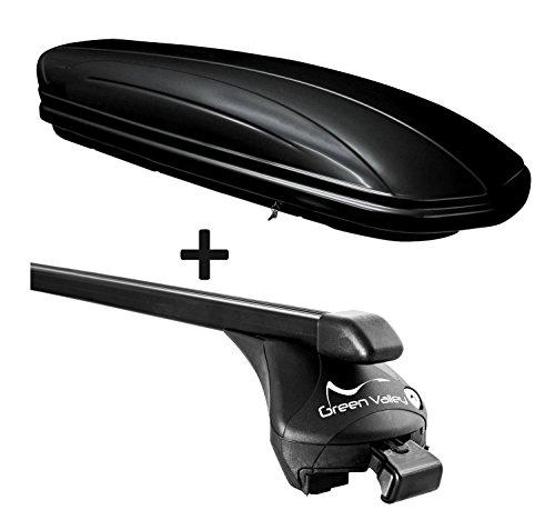 VDP Dachbox schwarz glänzend MAA320G günstiger Auto Dachkoffer 320 Liter abschließbar + Relingträger Dachgepäckträger für aufliegende Reling im Set für Ford Focus III SW ab 2011 bis 100kg