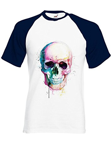 Colour Color Skull Skeleton Tumblr Novelty Navy/White Men Women Unisex Shirt Sleeve Baseball T Shirt-XXL par  NisabellaLTD