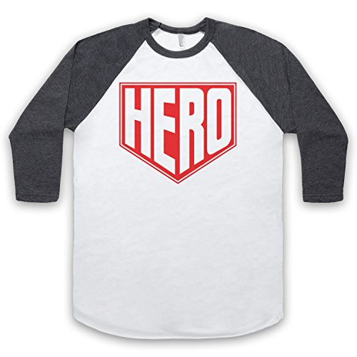 Hero Hipster 3/4 Hulse Retro Baseball T-Shirt Weis & Dunkelgrau