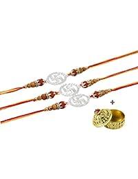 GoldGiftIdeas 999 Silver Nakshi Swastik Rakhis for Brother (Set of 3), Pure Silver Shining Rakhi for Raksha Bandhan (Men/Boys)/Rakhi Gift for Brother with Golden Kumkum Dabbi