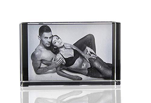 VIP-LASER 2D Glaskristall Quader graviert mit Deinem Wunsch-Foto und Text - das ideale persönliche Geschenk! (L (60x40x40mm))