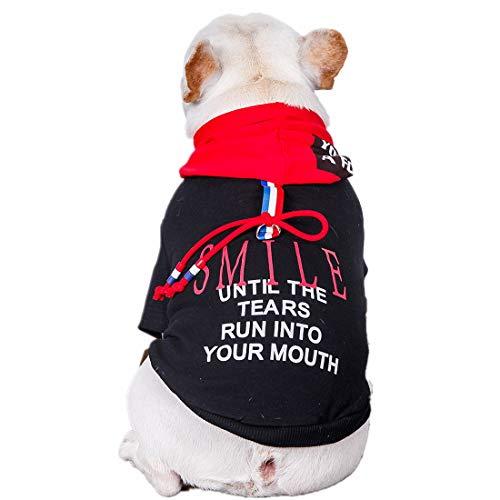 PZSSXDZW Haustierhundekostüm Frühling Sommerkleidung Kapuzensweatshirt Haustierhund Kapuzenpullover,Schwarz,M