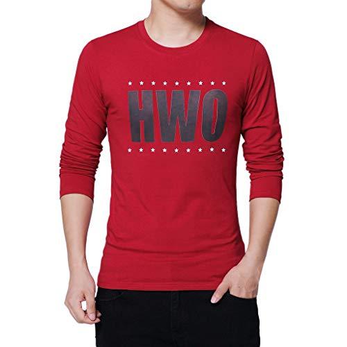 Xmiral Herren T-Shirt Lässiger Brief Druck Pure Color Langarm Tops Bluse Bodenbildung Draußen Kostüm(2XL,Rot)