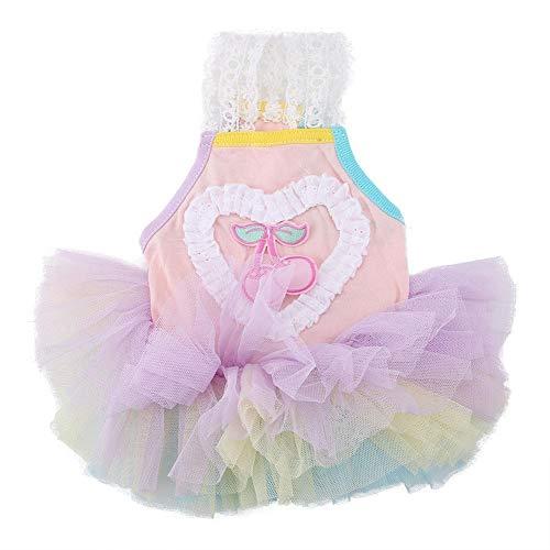 Pssopp Hundekleid Haustier Kleid Herz Muster Blase Kleid Welpen Katzen Prinzessin Rock Hund Prinzessin Kleider Baumwolle Haustier Kleidung Puppy Kostüm für Hochzeit - Bubble Puppy Kostüm