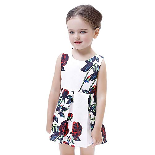 (JUTOO Kinder Säuglingskind Mädchen Floral Sleveeless Princess Mini Dress Clothes Outfit (Weiß120))