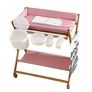 Baby Changing Table Foldable On Wheels, Heavy Duty Wooden Diaper Station Nursery Organizer for Infant/Newborn   4