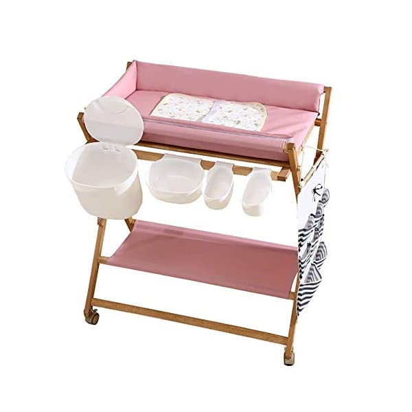 Baby Changing Table Foldable On Wheels, Heavy Duty Wooden Diaper Station Nursery Organizer for Infant/Newborn GUYUE Beech Material: Birch wood hard, good load bearing performance, no deformation, strong pressure resistance, clear texture. High-grade PU Leather: It has excellent wear resistance, excellent breathability, aging resistance, soft and comfortable. Size: As shown, 80x56x(80-85-90-95)cm, Bearing weight 150kg. 1
