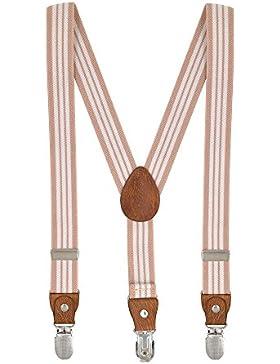 Tirantes Unisex Elásticos Adjustable Y-Forma Para Niños Niñas Con 3 Clips De 2.5cm Ancho Raya - Rosa Claro Blanco
