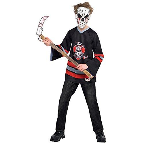 (Kinder Blutig Gesicht Offe Jason Hockey Kostüm Kostüm Größe 14-16 Jahre)