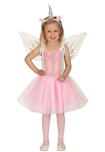 Einhorn Ballerina Kostüm für Mädchen - Kinder Prinzessin Kleid mit Flügeln und Haareif