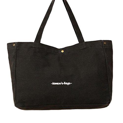 ESAILQ Mode Damen Mädchen Canvas Shopping Handtasche Schulter Tote Shopper Strandtasche (Schwarz) (Schwarze Schulter-stil Handtasche)