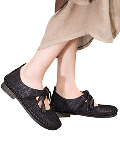 Youlee Femmes Tassel Cuir Chaussures coupe-bas Black