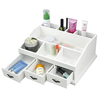 Popamazing Attractive White Desk Tidy Organizer Make Up Pen Drawers Cosmetics Holder