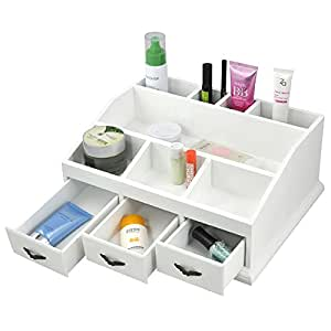 Popamazing white desk tidy organizer make up pen drawers for Beauty table organiser