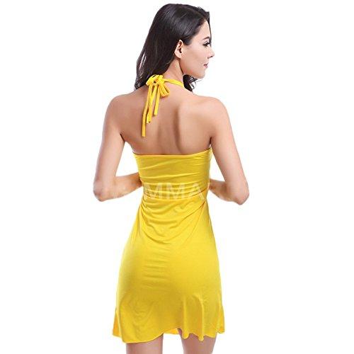 Andyshi–Donne sexy scollo a V Halter Swimwear Spiaggia Abiti Yellow