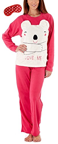 i-Smalls Frauen Lieben Mich Bär 2 Stück Snuggly Warm Pajama Set mit Star Print Augenmaske (M) Rosa (Stück Pj Damen 2)