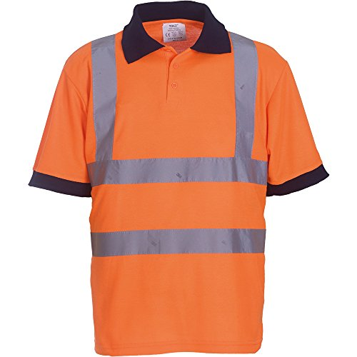 Yoko Mens High Vis Short Sleeve Polo Shirt Orange