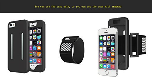Aohang Custodia Bracciale sportivo per iPhone 5S,iPhone SE , perfetto per corsa, jogging, camminare, Cover case armband banda per braccio per iPhone 5S,iPhone SE 4 White