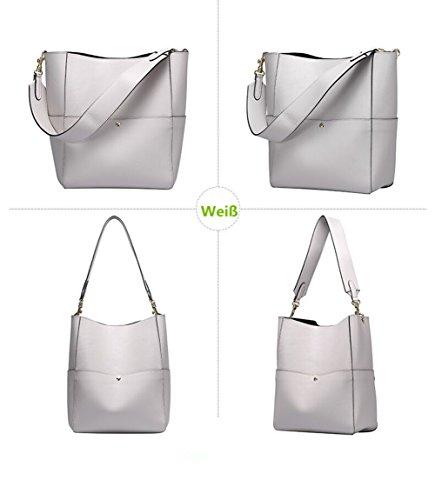 YAAGLE Echtes Leder Damen Schultertasche Eimer Taschen Handtasche oder Henkeltasche Mode praktisch Shopper Khaki grau