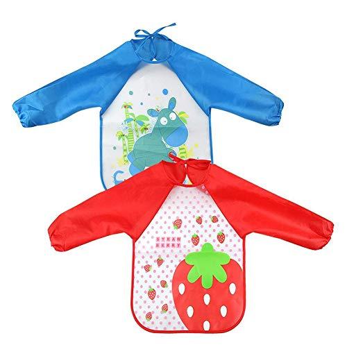NiceBellow 2 Kinderschürze Genderfrei Pulli Fütterlatz Wasserdichte Langarmbluse Essbare und Maler-Lätzchen (rot Erdbeere, blau) BabyProducts