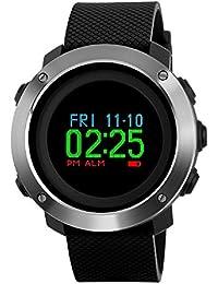 Multifunktions Kompass Sport Schrittzähler Uhren, farsler Kalorien Berechnung Dual Time Digital-Armbanduhr, Laufen, 50m Wasserdicht Outdoor Sport Watch
