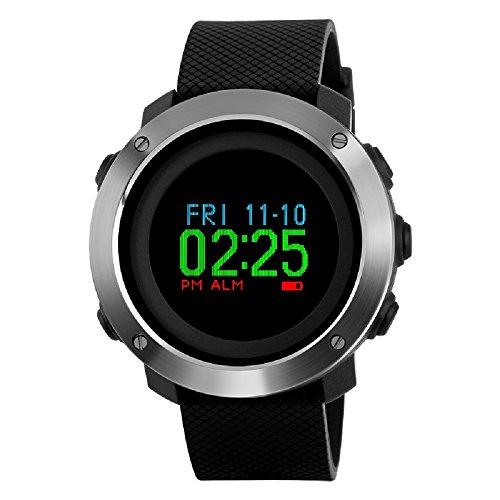 Multifunktions Kompass Sport Schrittzähler Uhren, farsler Kalorien Berechnung Dual Time Digital-Armbanduhr, Laufen, 50m Wasserdicht Outdoor Sport Watch -