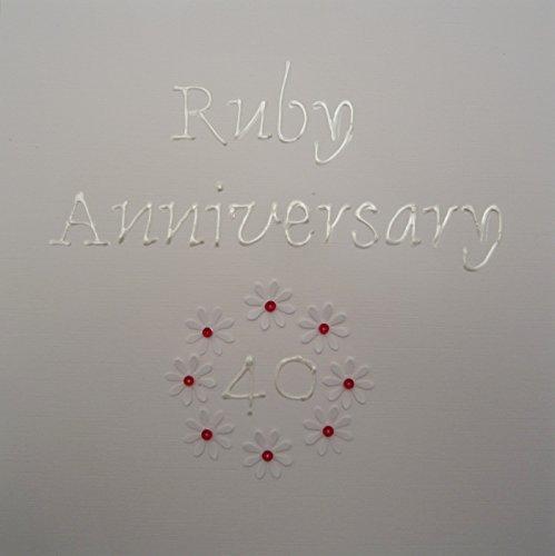 Bianco Carte cotone Souvenir Album matrimonio 40 ° anniversario della carta con i fiori fatti a mano di Ruby
