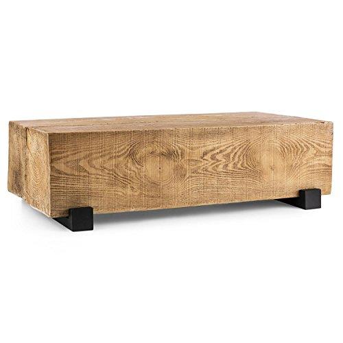 Blumfeldt Blockhouse Lounge • Table de Jardin terrasse • Fabriquée à partir de 2 poutres carrées massives • 120x30x60cm • Résistante aux intempéries • Pas de Fixation définitive