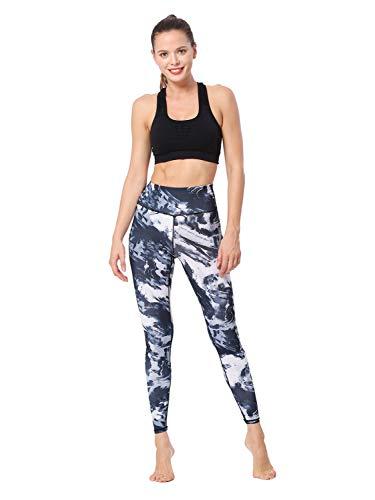 JiuRui Sport & Yoga Hosen Frauen Yoga Leggings Hosen Bauch Kontrolle Gedruckt Leggings Buttery Weiche Workout Shapewear Mohn XS ~ L (Color : Marble, Size : L) -
