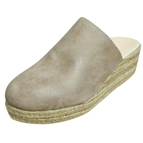 Junjie Rom Frauen Sommer Keile Schuhe Plattform Slip-On Sandalen Plus Größe Freizeitschuhe Quasten High Heel dick mit Spitze römischen Schwarz, Khaki 35-43 EU -